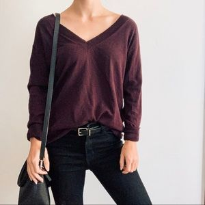 Gap V-Neck Sweater - Maroon - Made with Cashmere